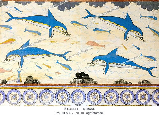 Greece, Crete, archaeological site of Knossos, reproduction of the fresco of the dolphins