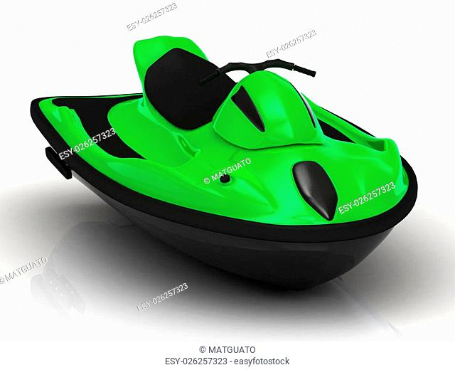 Green sports watercraft. Magnificent front view