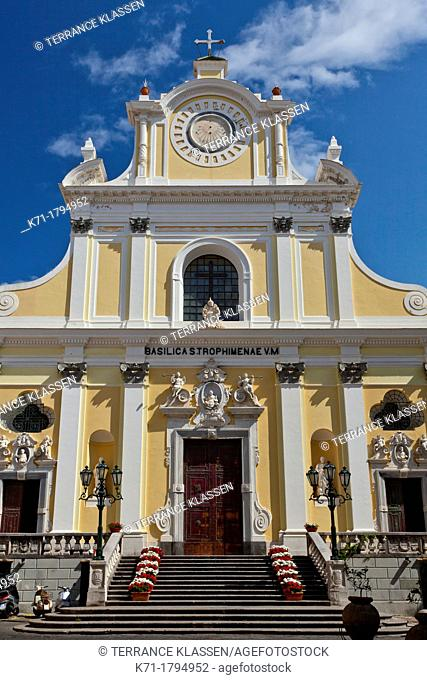 The Santa Trofimena church in the Amalfi coast town of Minori, Italy