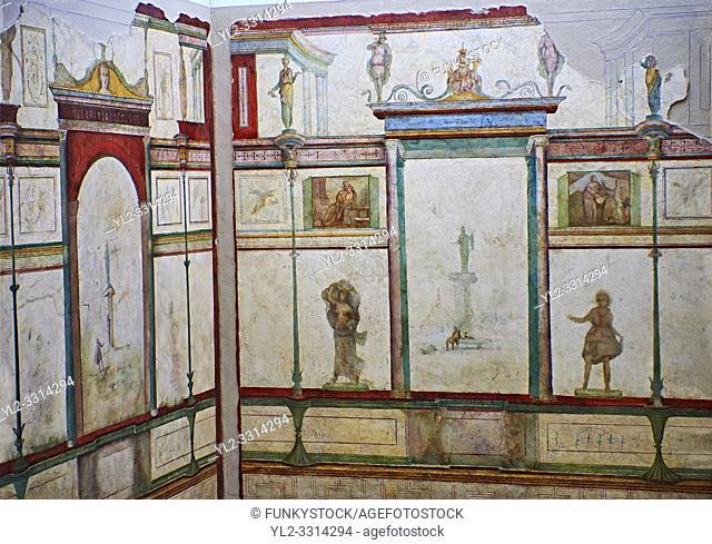 Roman fresco wall decorations of Bedroom E of the Villa Farnesia, Rome. Museo Nazionale Romano ( National Roman Museum), Rome, Italy.
