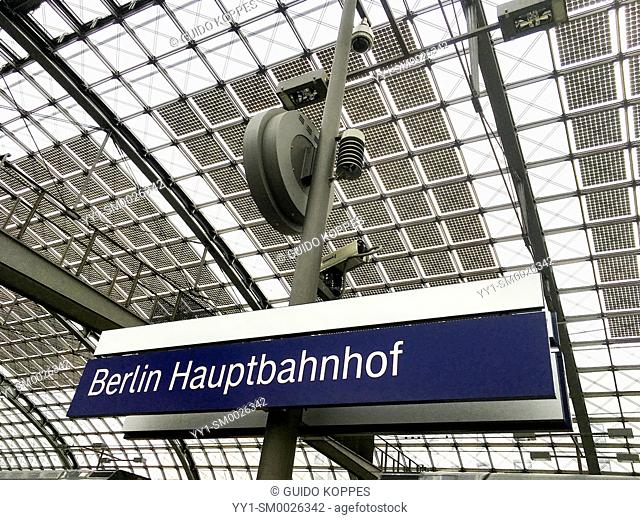 Berlin, Germany, Name Sign and Roof with Solar Cell Panels, generating clean and renewable energy at the German Capitol's HaubtBahnHof