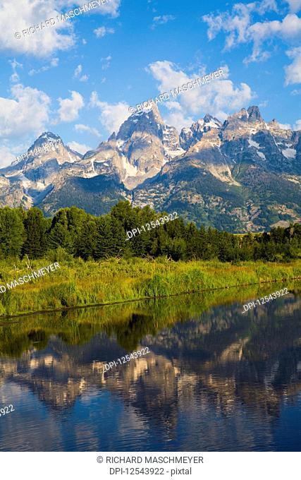 Teton Range viewed from Schwabache Landing, Grand Teton National Park, Wyoming, United States of America