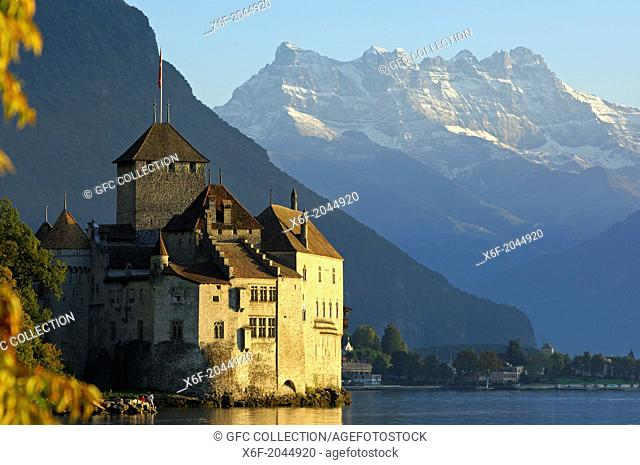 Castle Chillon at Lac Leman and peak Dents du Midi, Montreux, Switzerland