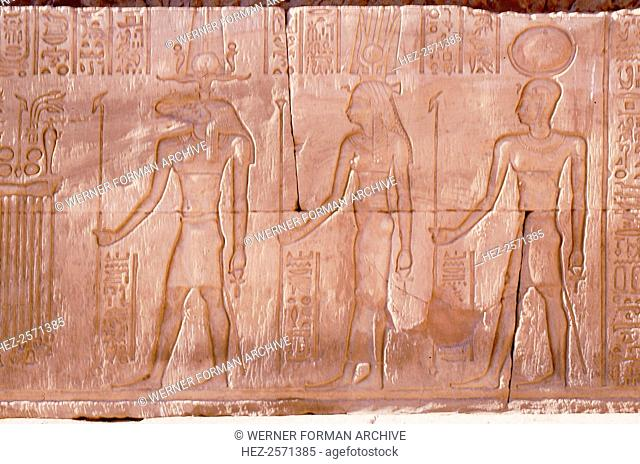 Relief with the gods Horus, Hathor and Khnum. Country of Origin: Egypt. Culture: Ancient Egyptian. Date/Period: Ptolemaic
