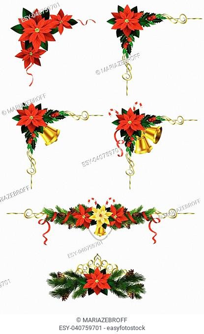 Christmas decoration set with evergreen trees pine cones and poinsettia isolated vector