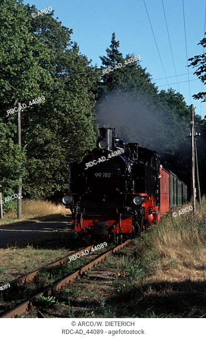 Steam engine vom Putbus to Gohren Isle of Ruegen Mecklenburg-Western Pommerania Germany