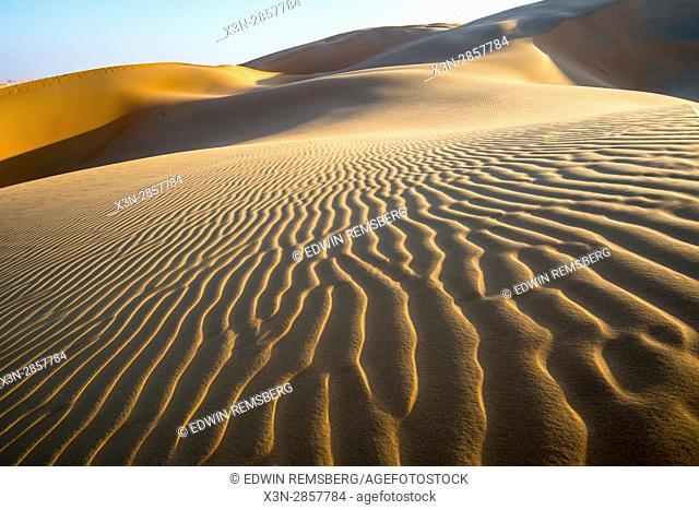 Liwa Oasis, Abu Dhabi , United Arab Emirates -, vast desert landscape scattered with rippling sand dunes The Empty Quarter (Rub' al Khali) of the arabian...