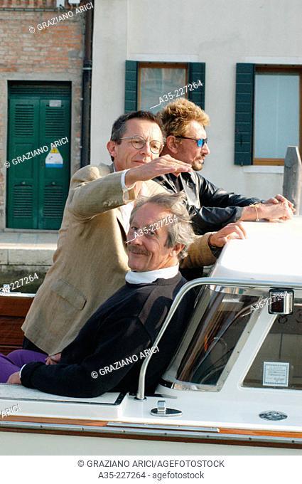 Johnny Hallyday and Patrice Leconte. Venice. Italy
