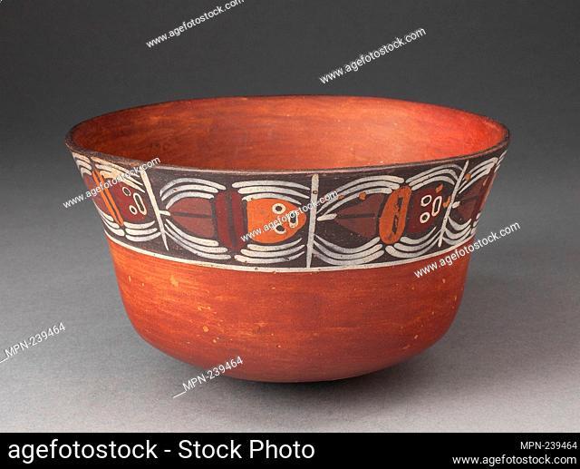Bowl with Band of Abstract Spiders around Rim - 180 B.C./A.D. 500 - Nazca South coast, Peru - Artist: Nazca, Origin: Peru, Date: 180 BC–500 AD