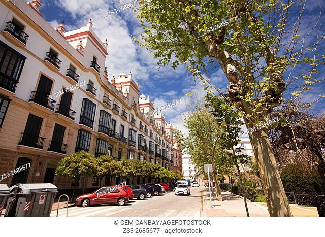 View to the Casa de las 5 Torres, Atlantic Ocean, Cadiz City, Andalusia, Spain, Europe