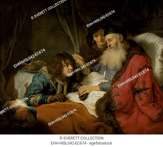 Isaac Blessing Jacob, by Govert Flinck, c. 1638, Dutch painting, oil on canvas. Jacob, pretending to be his older twin brother, Esau