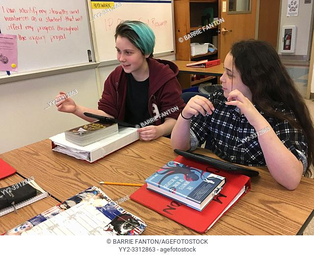7th Grade Girls Participating in Discussion in Social Studies Class, Wellsville, New York, USA