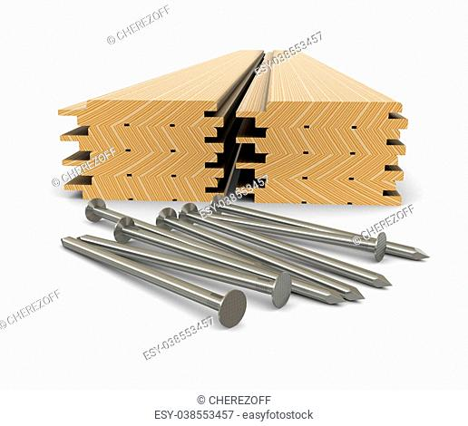 Lumber and nails - material for construction