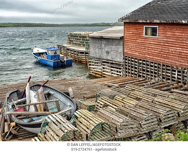 Lobster Traps and Fishing Shacks in Newfoundland