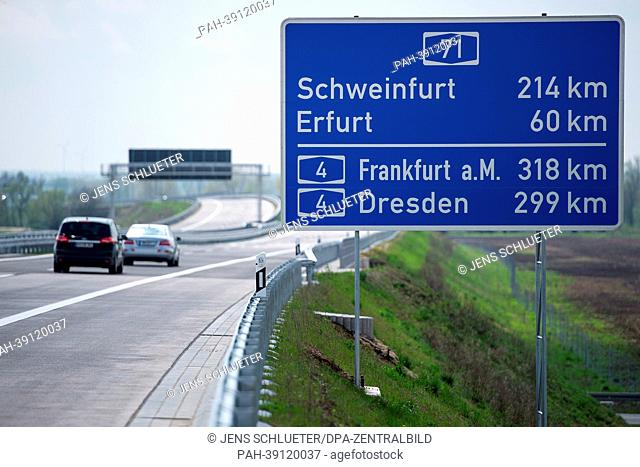 Cars drive on the Autobahn A71 between motorway junction Suedharz (A38) and connection Heldrungen in Thuringia, Germany, 29 April 2013