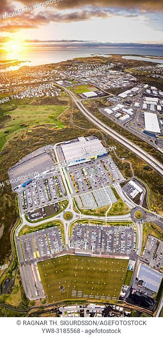 Parking lot with cars, Gardabaer, Suburb, Reykjavik, Iceland