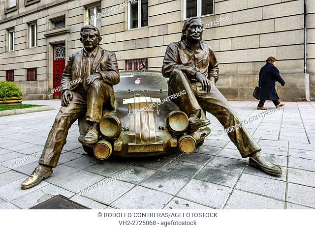 Car and statues in Ourense, Galicia