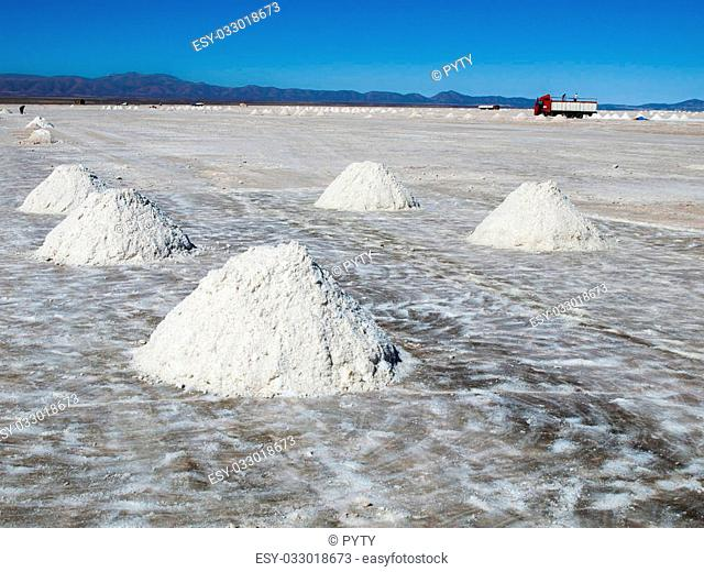 Salt piles on Salar de Uyuni where salt is produced, Bolivia