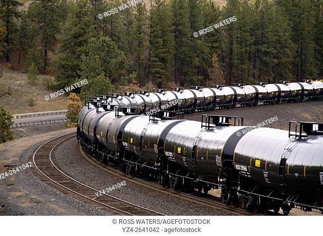 An oil train in Marshall, Washington, USA