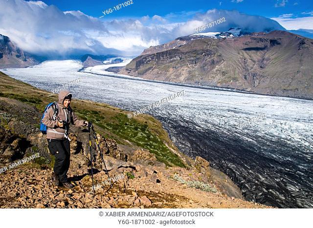Skaftafell, one of the tongues of the glacier Vatnajökull National Park of Vatnajökull south Iceland, Scandinavia, Europe
