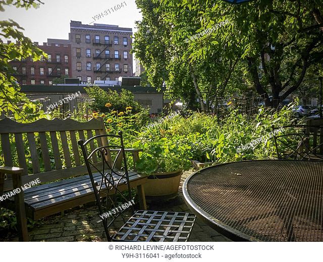 A lush community garden at its peak in the Chelsea neighborhood of New York on Friday, June 29, 2018. (© Richard B. Levine)