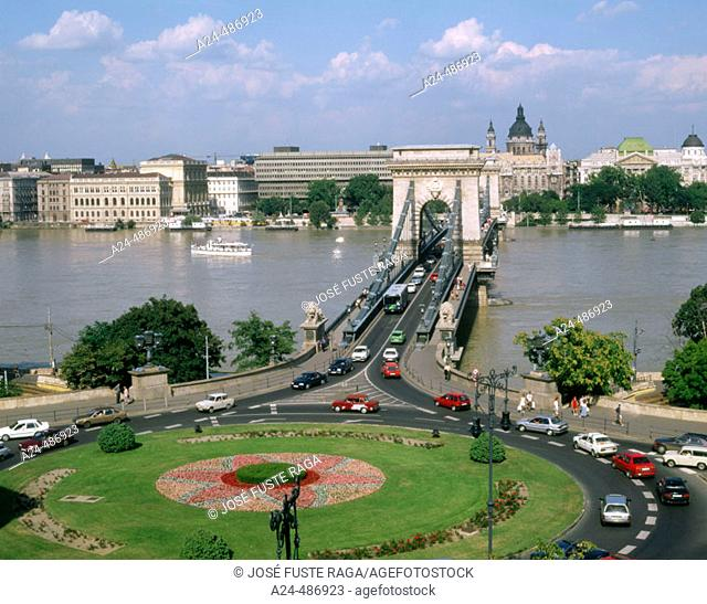 Chain Bridge. Danube River. Budapest. Hungary