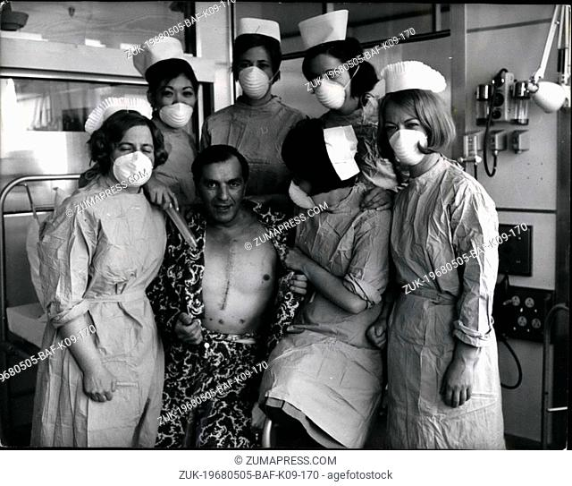 May 05, 1968 - First Move For Heart Transplant Patient: Britain's first heart transplant patient, Mr. Frederick West, 45, baring his stitched-up chest