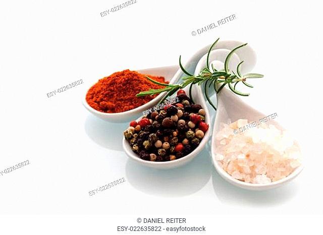 Himalayan salt, black peppercorns and rosemary
