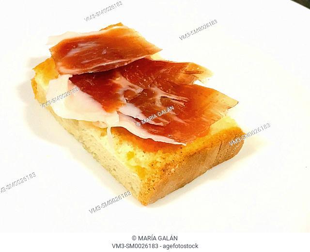 Iberian ham with tomato on toast. Spain