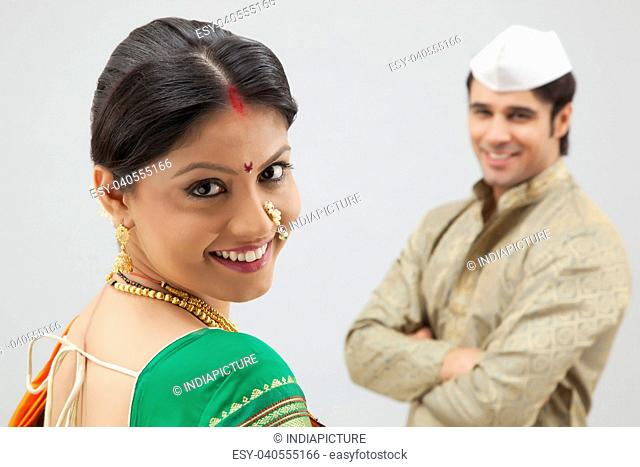Portrait of a Maharashtrian woman smiling