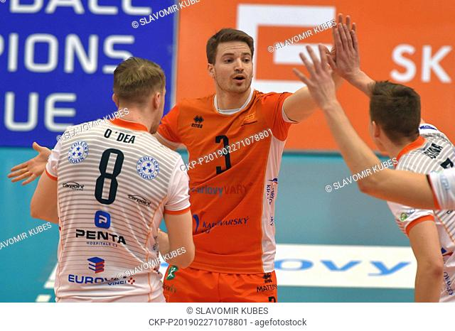 L-R Trent O'Dea, Daniel Pfeffer and Lukas Vasina (all Karlovy Vary) in action during the 6th round group B of volleyball Champions League match Karlovarsko vs...