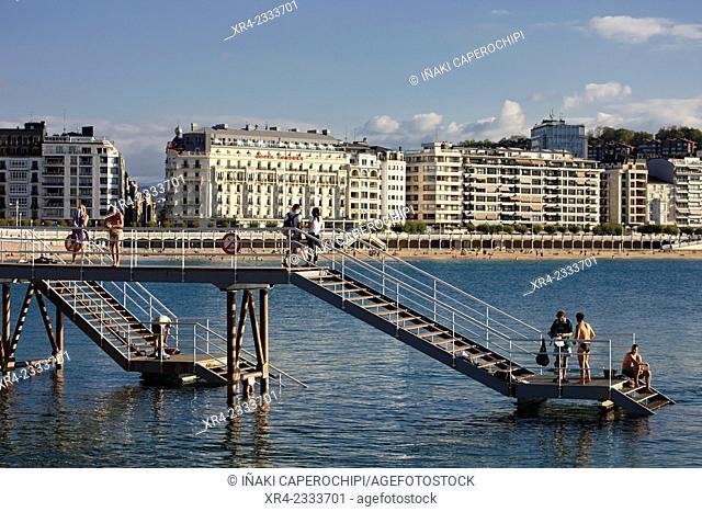 Pier at the Club Nautico (Yacht Club), Donostia (San Sebastian), Gipuzkoa, Basque Country, Spain