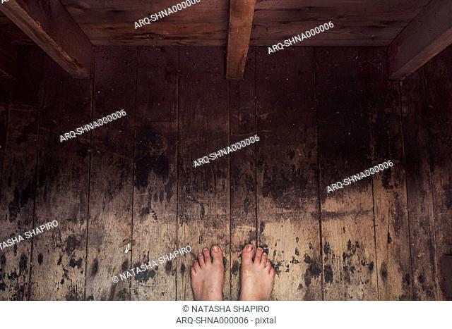 High Angle View Of Person Toes In Wild Places