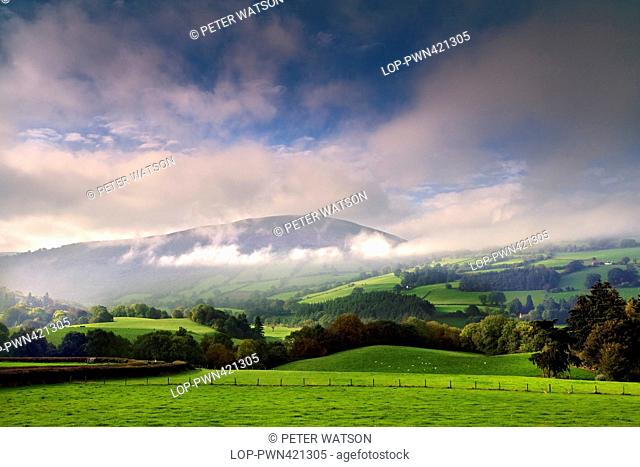 Wales, Powys, Brecon. Looking across a misty landscape in the Brecon Beacons