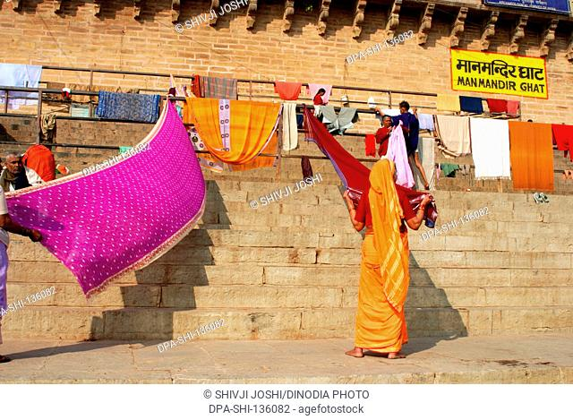 Woman drying saris at Manmandir ghat ; Varanasi ; Uttar Pradesh ; India
