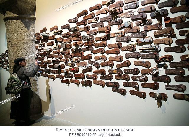 """Arsenale. Installation """"""""Our time for a future caring"""""""" by Atul Dodiya, Ashim Purkayastha, GR Iranna, Jitish Kallat, Nandalal Bose, Rummana Hussain"""