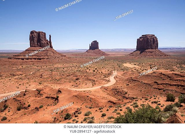 Landscape with sandstone formations, World famous Monument Valley, Utah, USA.