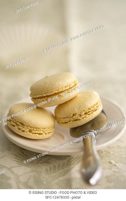Three macarons on a plate