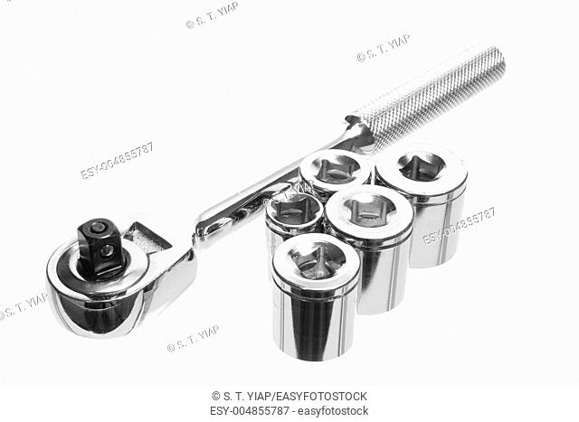 Socket Spanner Wrench on White Background