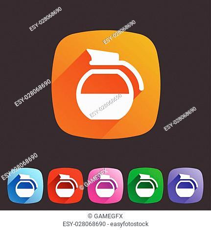 coffee pot kettle icon flat web sign symbol logo label set