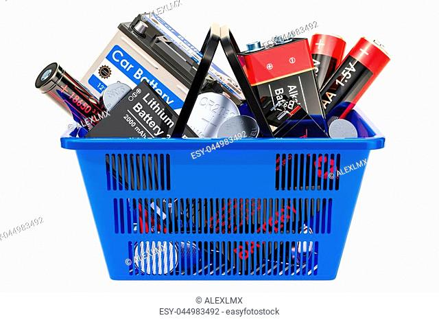 Shopping basket with different batteries. 3D rendering isolated on white background