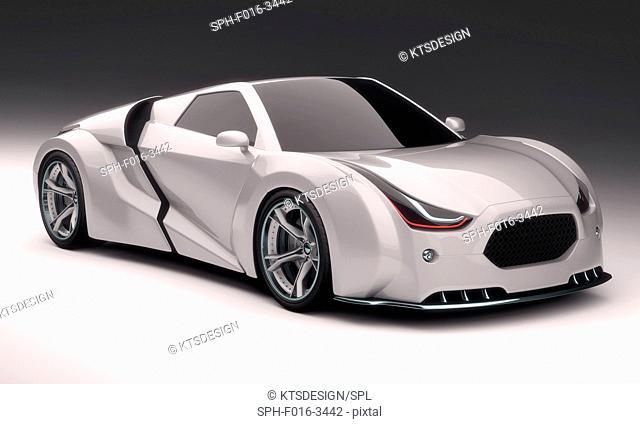 White supercar, illustration