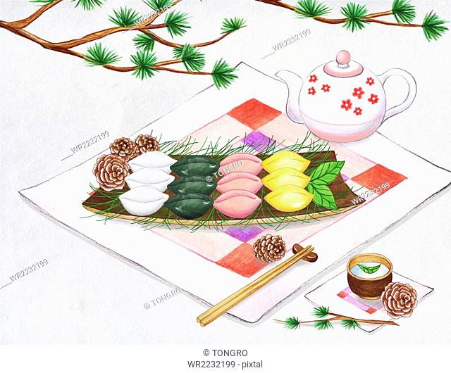 Watercolor rice cakes and tea set with pine tree