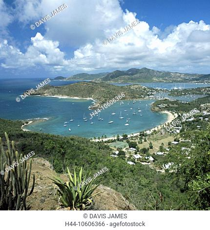 10606366, Antigua, Caribbean, view, from Shirley Heights, bay, English Harbour, coast, sea, south coast, overview