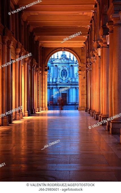 Passage of the Via Roma, in the background the Santa Cristina church, in Turín. Italy