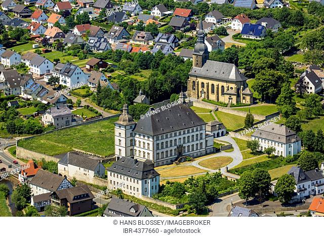 Aerial view, Deutschordensschloss, German Order castle and church St. Margaretha, Mülheim, Sauerland, North Rhine-Westphalia, Germany