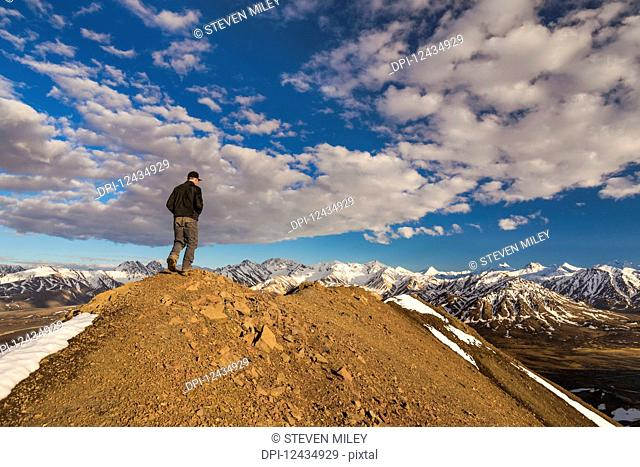 A man walks on top of a ridge near Polychrome Mountain in Denali National Park in early summer; Alaska, United States of America