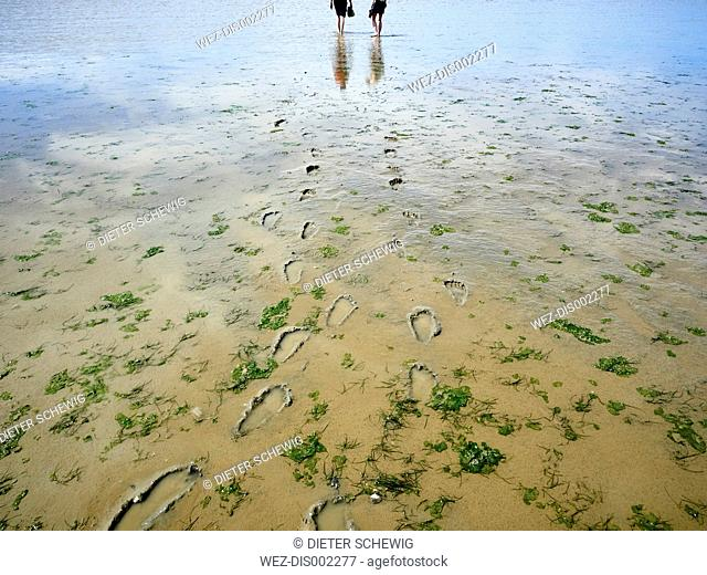 Canada, Iona Beach Regional Park, two women walking on beach at low tide