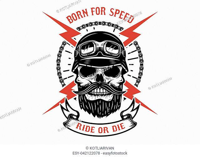 Born for speed, ride or die. Human skull with crossed lightning. Design element for logo, label, emblem, sign. Vector illustration