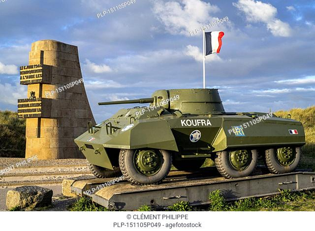 The Leclerc monument and World War Two M8 Greyhound light armored car of the Forces françaises libres / FFL at Utah Beach, Saint-Martin-de-Varreville, Normandy